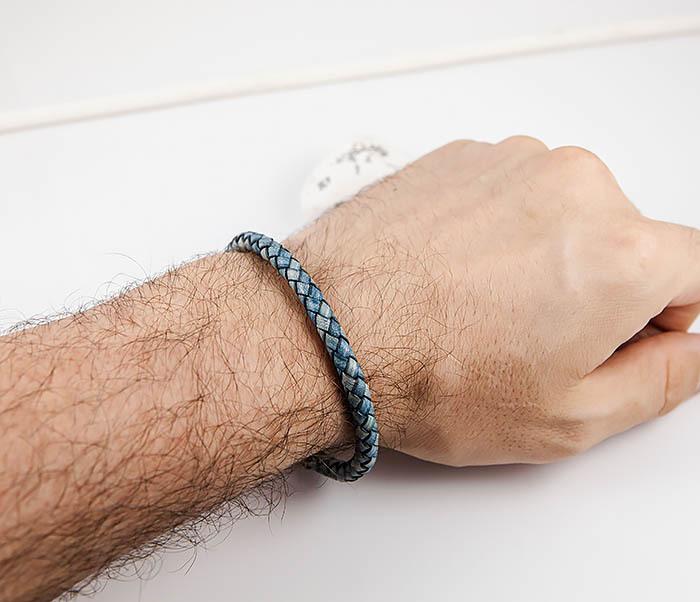 BM517-4 Браслет шнур из натуральной кожи голубого цвета фото 07
