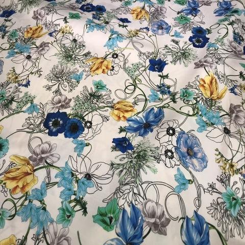 Ткань вискоза белая цветы 3116