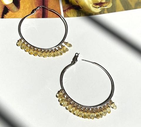 Серьги кольца Drop из серебра с желтыми подвесками