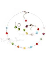 Комплект Estate серебристый (серьги зеленые Piccolo, ожерелье короткое, браслет)