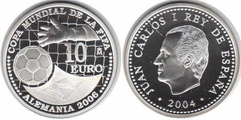 10 евро Чемпионат мира по футболу Германия 2006 г. Испания 2004 г. Proof