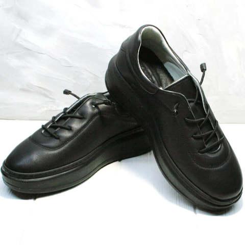 Модные кроссовки кеды кожаные. Черные женские кроссовки с высокой подошвой Rozen-Bl.