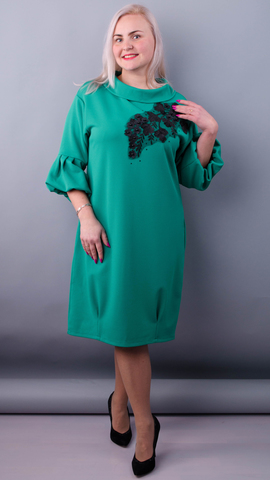 Гледис. Нарядное платье для пышных дам. Бирюза.