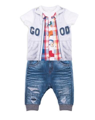 Папитто. Комплект футболка и штанишки для мальчика с жилеткой FASHION JEANS