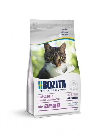 BOZITA Hair & Skin WF Salmon 400 г сухой корм для взрослых и растущих кошек для здоровой  кожи 400г
