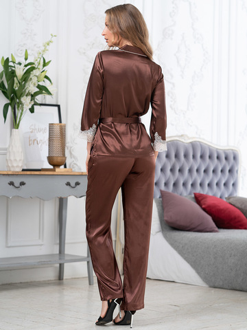 Комплект шелковый с брюками Mia-Amore  MARILIN Мэрилин  3156 шоколад