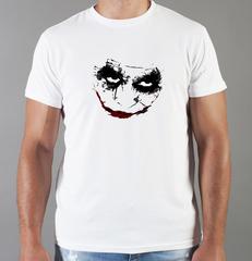 Футболка с принтом Джокер, Тёмный рыцарь (Joker, The Dark Knight, Хит Леджер) белая 0058
