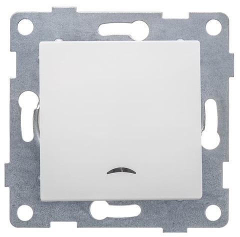 Выключатель одноклавишный с подсветкой, 10 А 220/250 В~. Цвет Белый. Ugra GUSI Electric. С11В18-001