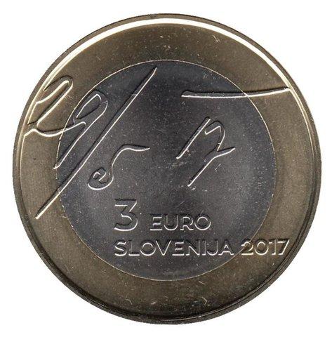 """3 евро Словения """"100 лет майской декларации"""" 2017 год"""