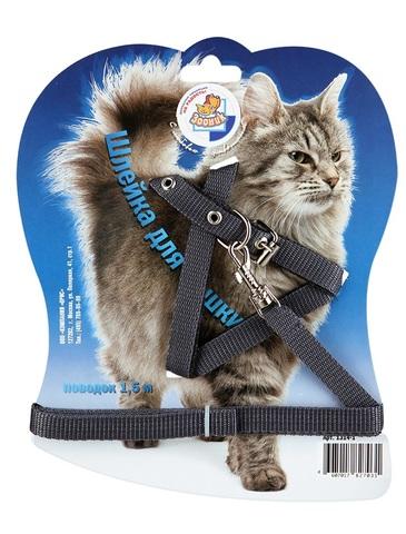 Зооник комплект поводок+шлейка для кошек из стропы на подкладке на блистере 14 мм