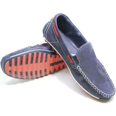 Смарт кэжуал летние мокасины туфли кожаные мужские. Синие мужские туфли мокасины с перфорацией Faber Navy-Blue