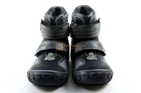 Ботинки Тотто из натуральной кожи демисезонные на байке для мальчиков, цвет черный. Изображение 5 из 10.