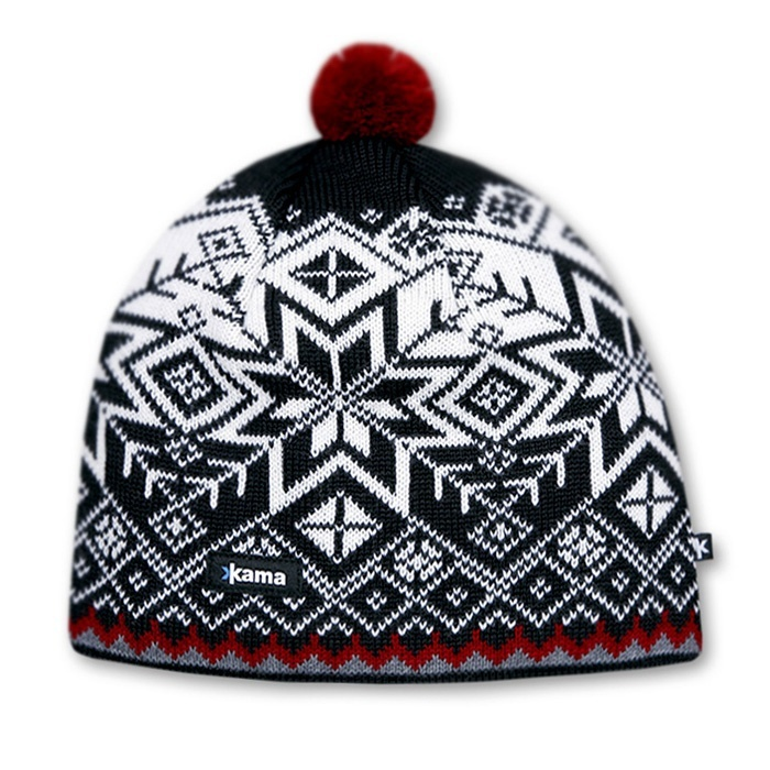 Спортивные шапки Шапка с помпоном непродуваемая Kama Aw41 Black knitted-hat-kama-aw41-windstopper-soft-shell-original.jpg