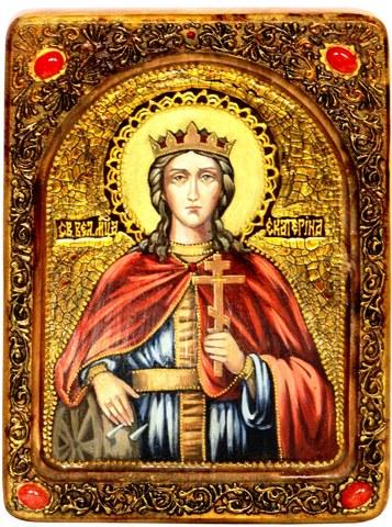 Инкрустированная живописная икона Святая великомученица Екатерина 29х21см на натуральном кипарисе в подарочной коробке