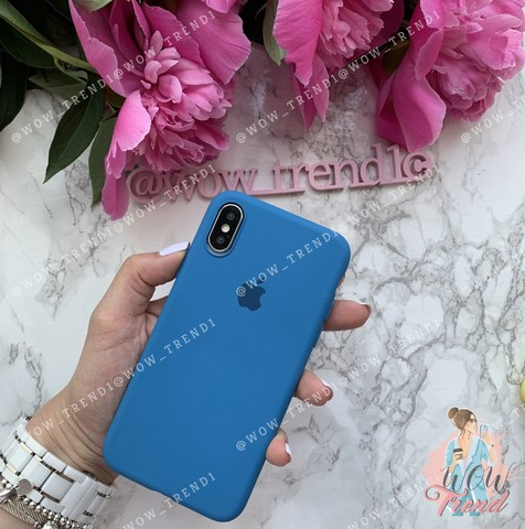Чехол iPhone X/XS Silicone Slim Case /denim blue/