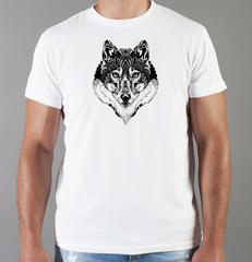 Футболка с принтом Волк (Wolf) белая 0031
