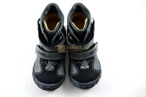 Ботинки Тотто из натуральной кожи демисезонные на байке для мальчиков, цвет черный. Изображение 8 из 10.