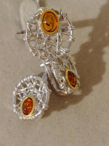 Арта (кольцо + серьги из серебра)