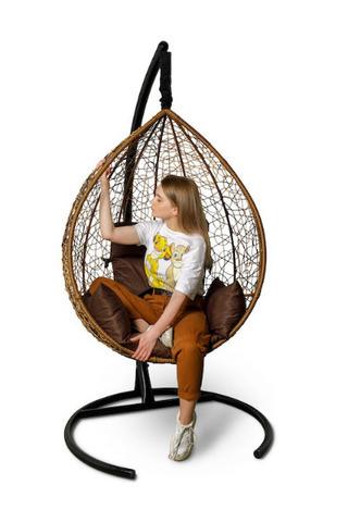 Подвесное кресло-кокон SEVILLA горячий шоколад + каркас + коричневая подушка