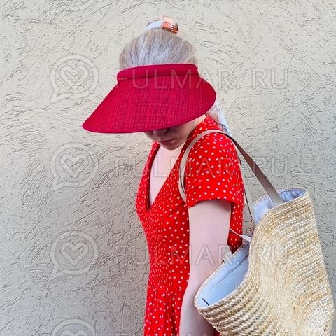 Широкий козырек от солнца-ободок на голову (цвет: Вишнёвый)