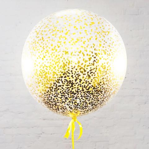 Большой шар с конфетти  мелкий квадрат (золото)
