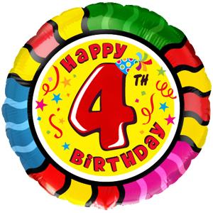 Фольгированный шар С днем рождения Цифра 4 18