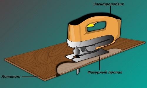 обрезка ламината электролобзиком