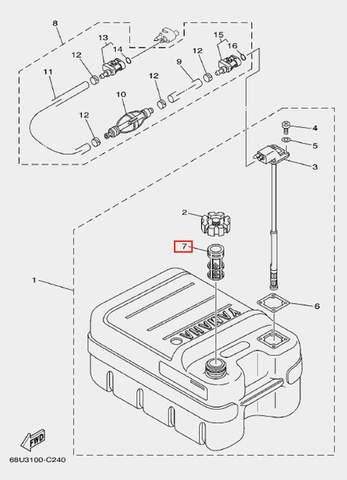 Фильтр-сетка топливный для лодочного мотора F20 Sea-PRO (25-7)