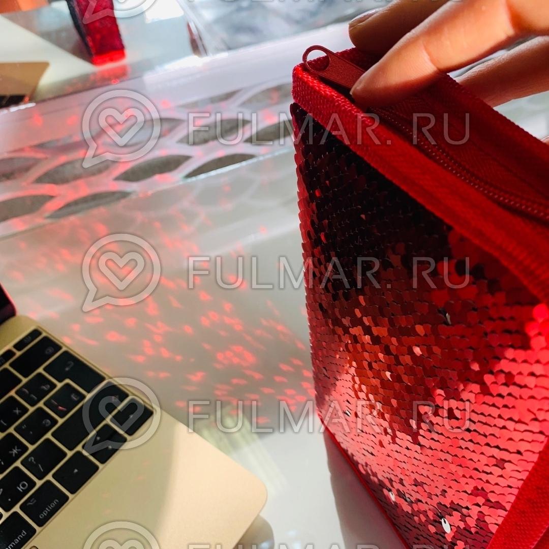Пенал односекционный с пайетками меняющие цвет Красный-Серебристый на молнии для девочки