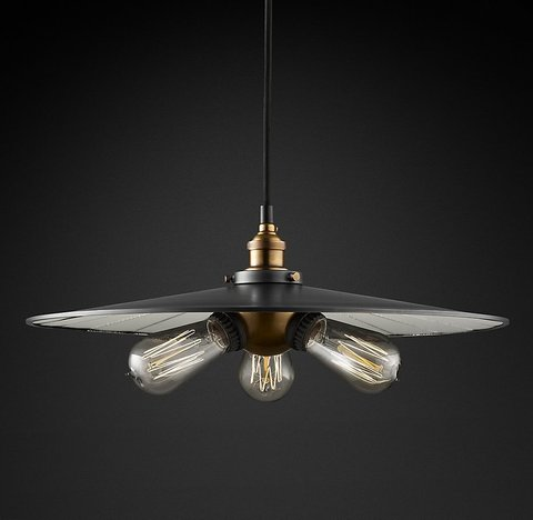 Подвесной светильник копия 20th C. Factory Filament Reflector Triple Pendant by Restoration Hardware