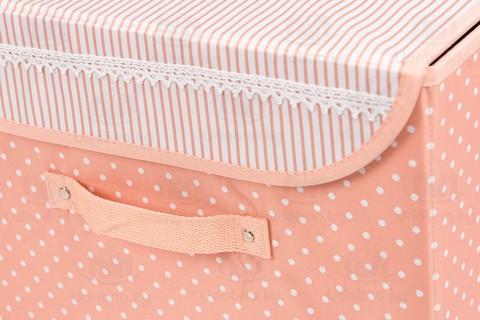 Средний складной кофр для одежды, 38*25*25 см (розовый в горошек)