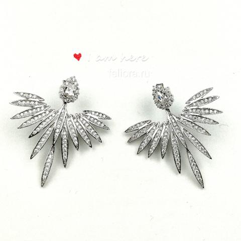 Серьги-джекеты «Крылья Ангела» из серебра с цирконами в стиле APM MONACO