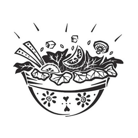 Салат овочі гриль з лососем