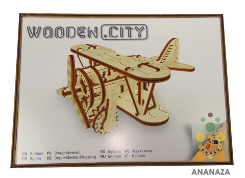 Деревянные конструкторы Wooden City. Модель Биплан