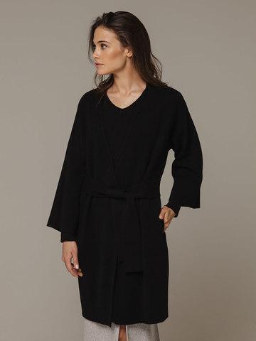 Женский черный кардиган на поясе из шерсти и кашемира - фото 2