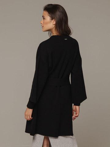 Женский черный кардиган на поясе из шерсти и кашемира - фото 3