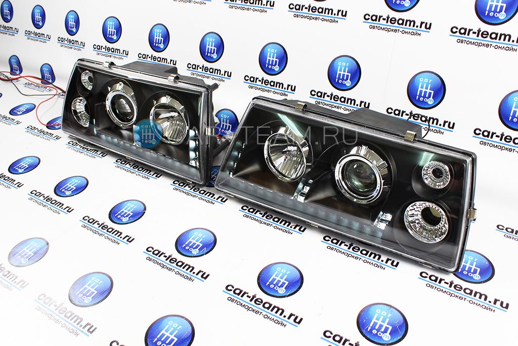 Фары передние на ВАЗ 2108-09 черные с диодными ДХО (267)