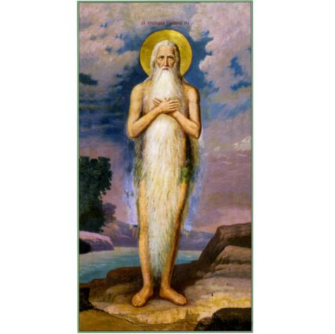 Икона святой преподобный Онуфрий Великий на дереве на левкасе мастерская Иконный Дом