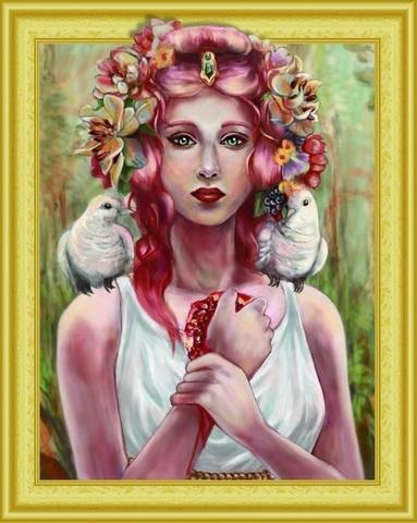Алмазная Мозаика 5D 40x50 Гранатовое сердце девушки (арт.LTH0574)