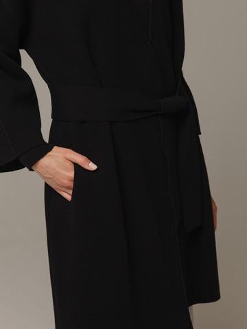 Женский черный кардиган на поясе из шерсти и кашемира - фото 4