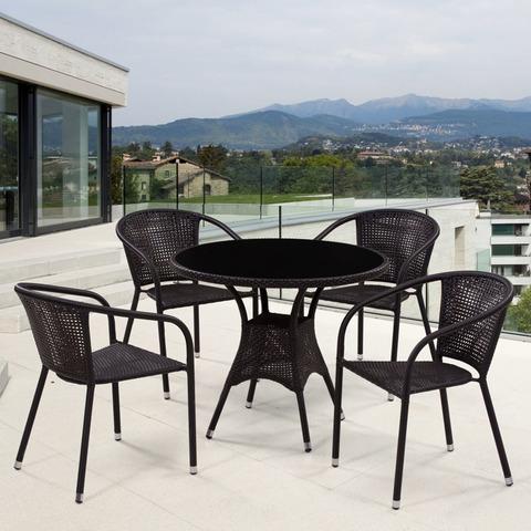 Комплект плетеной мебели T197ANS-W53/Y137B-W51 Brown 4Pcs