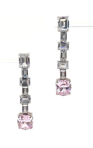 Серьги длинные из серебра с розовым кварцем в стиле Graff