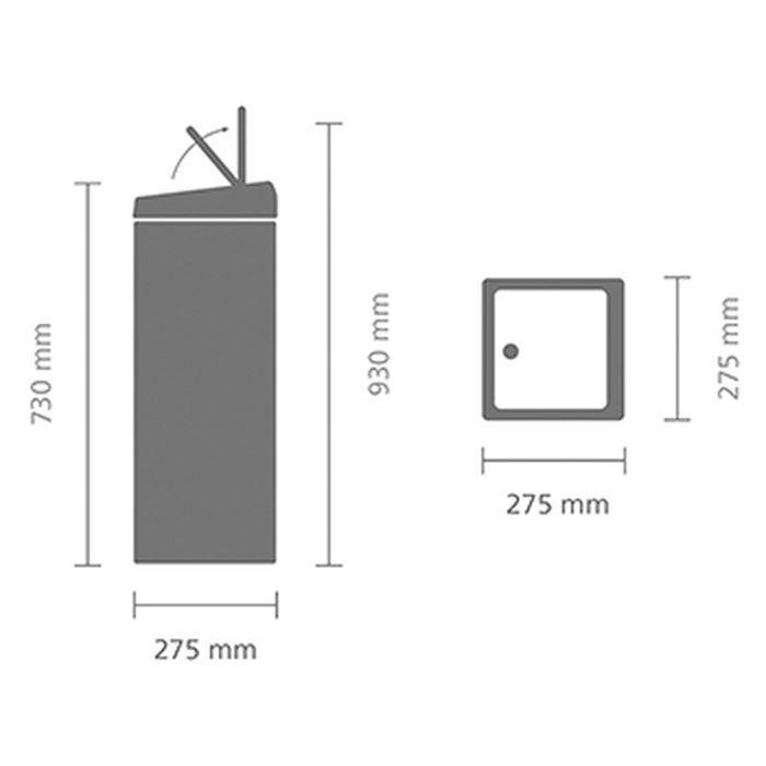 Мусорный бак Brabantia Touch Bin прямоугольный (25л), Полированная сталь, арт. 384905 - фото 1