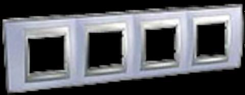 Рамка на 4 поста. Цвет Берилл-алюминий. Schneider electric Unica Top. MGU66.008.098