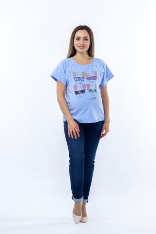 Футболка для беременных и кормящих 10757 голубой меланж