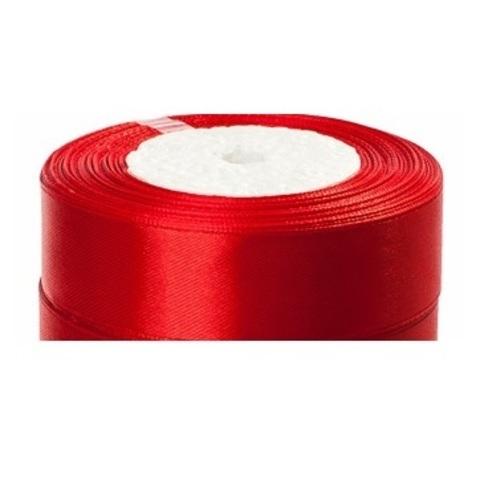 Лента атласная (размер:25мм х 25 ярдов) Цвет:красный
