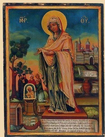 Икона Божией Матери Геронтисса на дереве на левкасе мастерская Иконный Дом