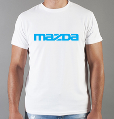 Футболка с принтом Мазда (Mazda) белая 0010