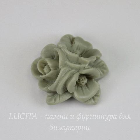 """Кабошон акриловый """"Тройной цветок"""", цвет - серый, 20 мм"""