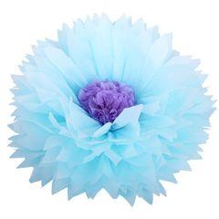 Бумажный цветок 50/23 см голубой+сиреневый